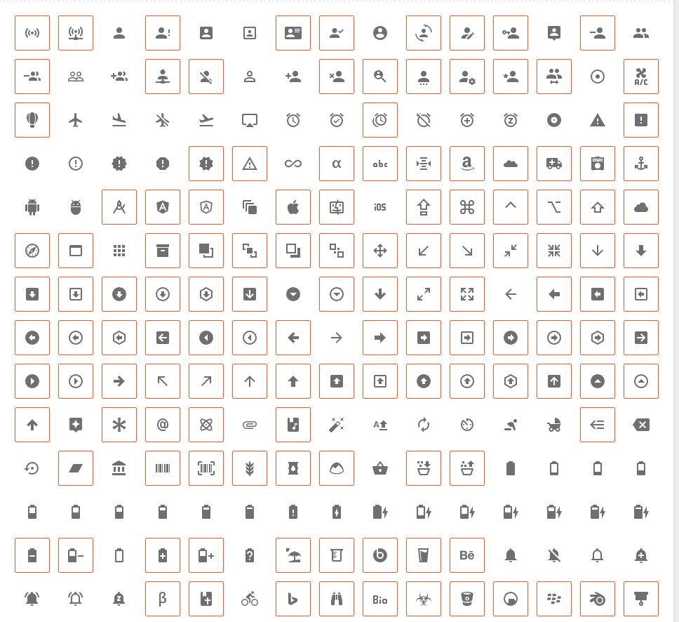 Selection of the icons