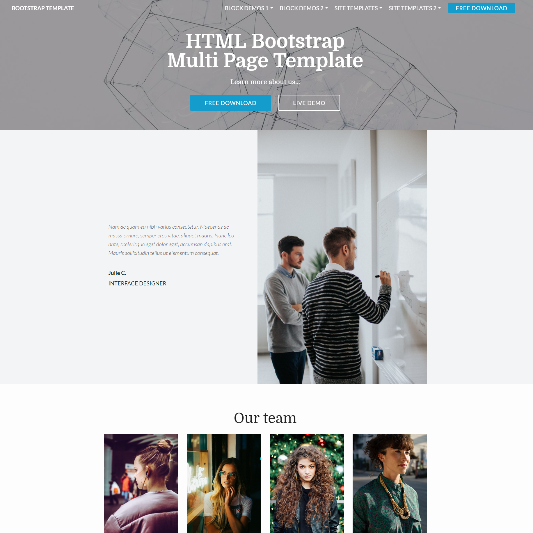 Free Bootstrap Multi page Themes