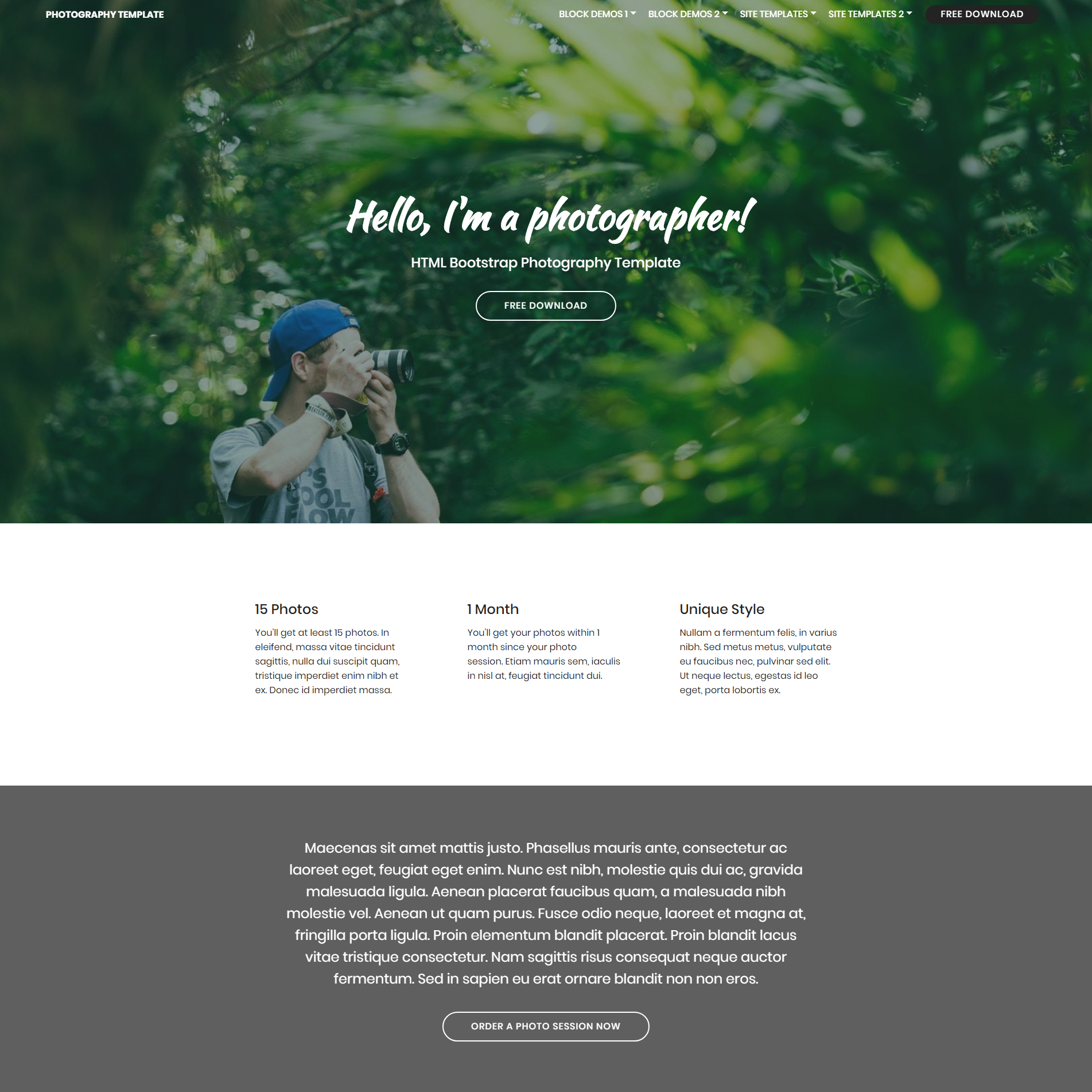 HTML5 Bootstrap Photography Themes