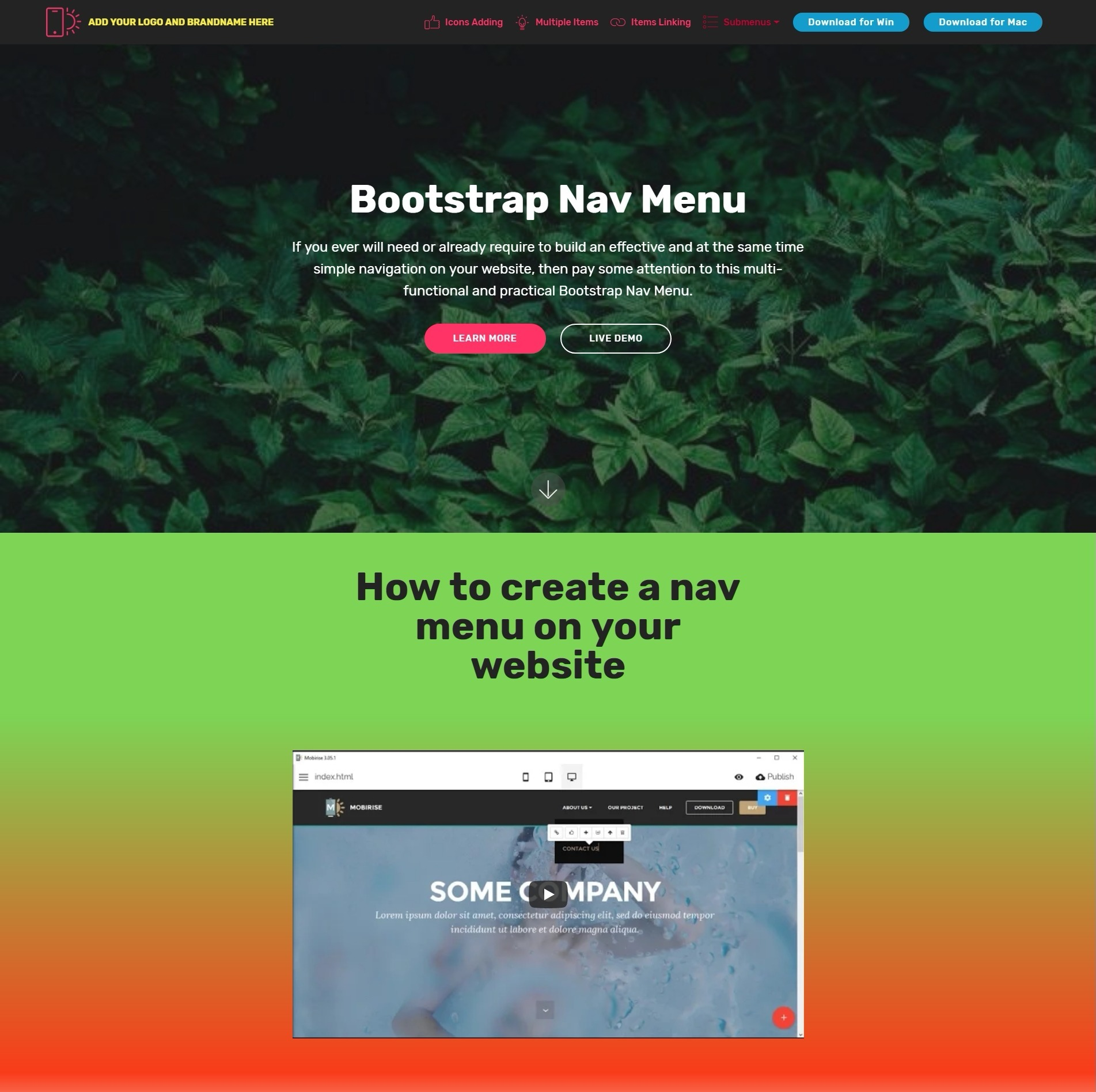 Wonderful HTML Bootstrap Carousel Video Players and Navigation Menu